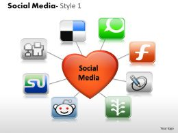Business Consulting Social Media Image Heart Icons Social Media Diagram Powerpoint Slide Template