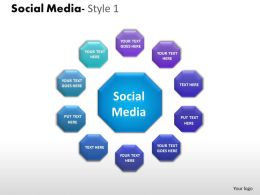 Business Consulting Social Media Image Slide Social Media Diagram Geometrical Powerpoint Slide Template