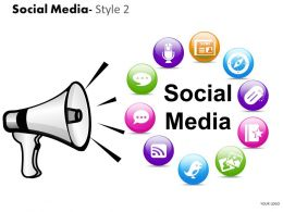 Business Consulting Social Media Loud Speaker Circular Diagram Image Slide Powerpoint Slide Template