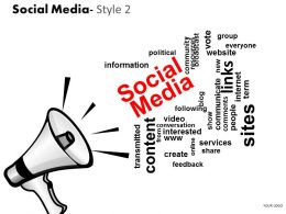Business Consulting Social Media Loud Speaker Content Link Sites Image Slide Powerpoint Slide Template