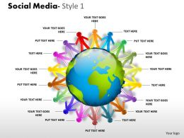 Business Consulting Social Media With Team Of 3d Men Surrounding Globe Powerpoint Slide Template