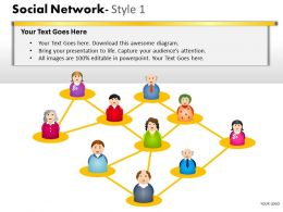 Business Consulting Social Network 3D Human Men Icons Connected Network Powerpoint Slide Template