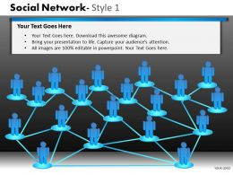Business Consulting Social Network 3D Men Connected To Each Other Network Powerpoint Slide Template