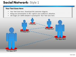 Business Consulting Social Network 3D Men Connected To Show Networking Powerpoint Slide Template