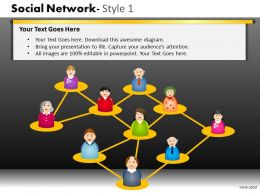 Business Consulting Social Network 3D Men Figures Connected In Web Powerpoint Slide Template