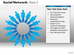 Business Consulting Social Network 3D Men In Circle Communication Net Image Powerpoint Slide Template