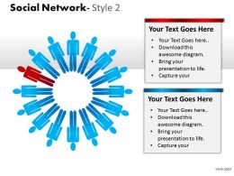 Business Consulting Social Network 3D Men In Circle With One Red Man Powerpoint Slide Template