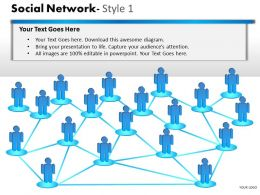 Business Consulting Social Network 3D Men Interconnected Over A Network Powerpoint Slide Template