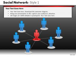 Business Consulting Social Network 3D Men Leader Team Connected Network Powerpoint Slide Template