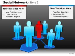 Business Consulting Social Network 3D Men Leader Team Connection Network Powerpoint Slide Template