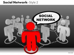 Business Consulting Social Network 3D Men Leader Team Networking Image Powerpoint Slide Template