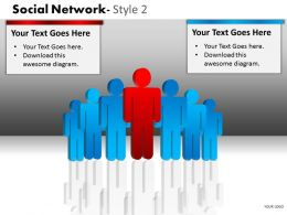 Business Consulting Social Network 3D Men Team Individual Red Men Network Powerpoint Slide Template