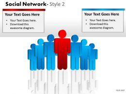 Business Consulting Social Network 3D Men Team Red Men Showing Network Powerpoint Slide Template