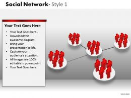 Business Consulting Social Network 3D Men Teams Connected To Team In Center Powerpoint Slide Template