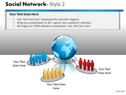Business Consulting Social Network 3D Team Global Communication Network Powerpoint Slide Template