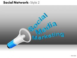 Business Consulting Social Network Blue Loud Speaker Social Media Marketing Powerpoint Slide Template