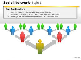 Business Consulting Social Network Colorful 3D Men Arrows Connection Network Powerpoint Slide Template