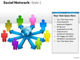 Business Consulting Social Network Colorful 3D Men Globe Arrows Network Powerpoint Slide Template
