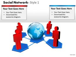 Business Consulting Social Network Colorful 3D Men Globe Show Global Network Powerpoint Slide Template