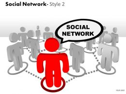 Business Consulting Social Network Colorful 3D Men One Red Men As Leader Powerpoint Slide Template