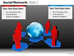 Business Consulting Social Network Colorful 3D Men Show Global Network Powerpoint Slide Template