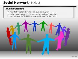 Business Consulting Social Network Colorful Business Executives Hands Network Powerpoint Slide Template