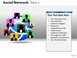 Business Consulting Social Network Globe Human Icons Show Global Network Powerpoint Slide Template