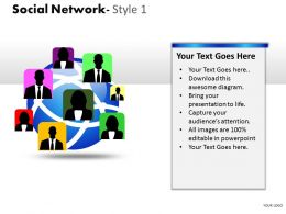 Business Consulting Social Network Globe Human Icons Showing Global Network Powerpoint Slide Template