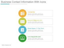 Business Contact Information With Icons Powerpoint Show