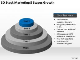 Business Context Diagram 3d Stack Marketing 5 Stages Growth Powerpoint Templates 0522