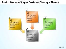Business Context Diagram Post It Notes 4 Stages Strategy Theme Powerpoint Templates 0523