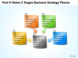 business_context_diagram_post_it_notes_5_stages_strategy_theme_powerpoint_templates_0523_Slide01