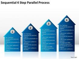 Business Context Diagram Sequential 4 Step Parallel Process Powerpoint Slides