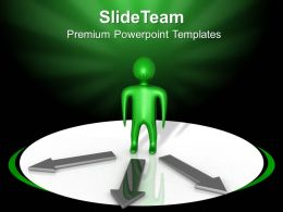 Business Context Presentation Person With Choices Arrow Graphic Ppt Themes Powerpoint
