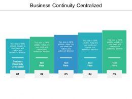 Business Continuity Centralized Ppt Powerpoint Presentation Layouts Information Cpb