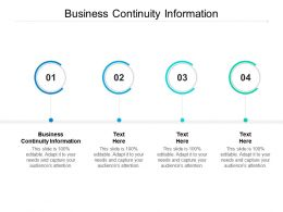 Business Continuity Information Ppt Powerpoint Presentation Professional Show Cpb