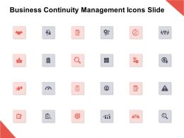 Business Continuity Management Icons Slide Growth Threat E134 Ppt Powerpoint Presentation