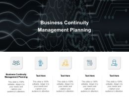 Business Continuity Management Planning Ppt Powerpoint Presentation Model Deck Cpb