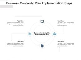 Business Continuity Plan Implementation Steps Ppt Powerpoint Presentation Icons Cpb