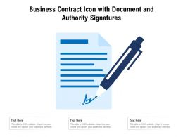 Business Contract Icon With Document And Authority Signatures