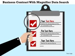 Business Contract With Magnifier Data Search Flat Powerpoint Design