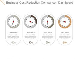 Business Cost Reduction Comparison Dashboard Ppt Ideas
