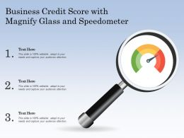 Business Credit Score With Magnify Glass And Speedometer
