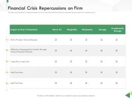 Business Crisis Preparedness Deck Financial Crisis Repercussions On Firm Ppt Elements