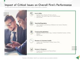 Business Crisis Preparedness Deck Impact Of Critical Issues On Overall Firms Performance Ppt Professional