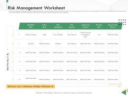 Business Crisis Preparedness Deck Risk Management Worksheet Ppt Background