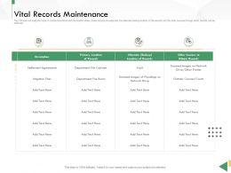 Business Crisis Preparedness Deck Vital Records Maintenance Ppt Infographics