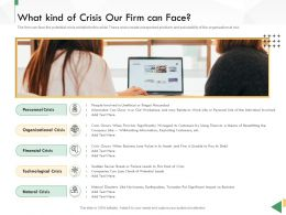 Business Crisis Preparedness Deck What Kind Of Crisis Our Firm Can Face Ppt Infographics