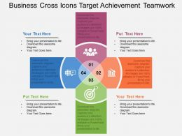 Business Cross Icons Target Achievement Teamwork Flat Powerpoint Design