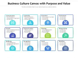 Business Culture Canvas With Purpose And Value